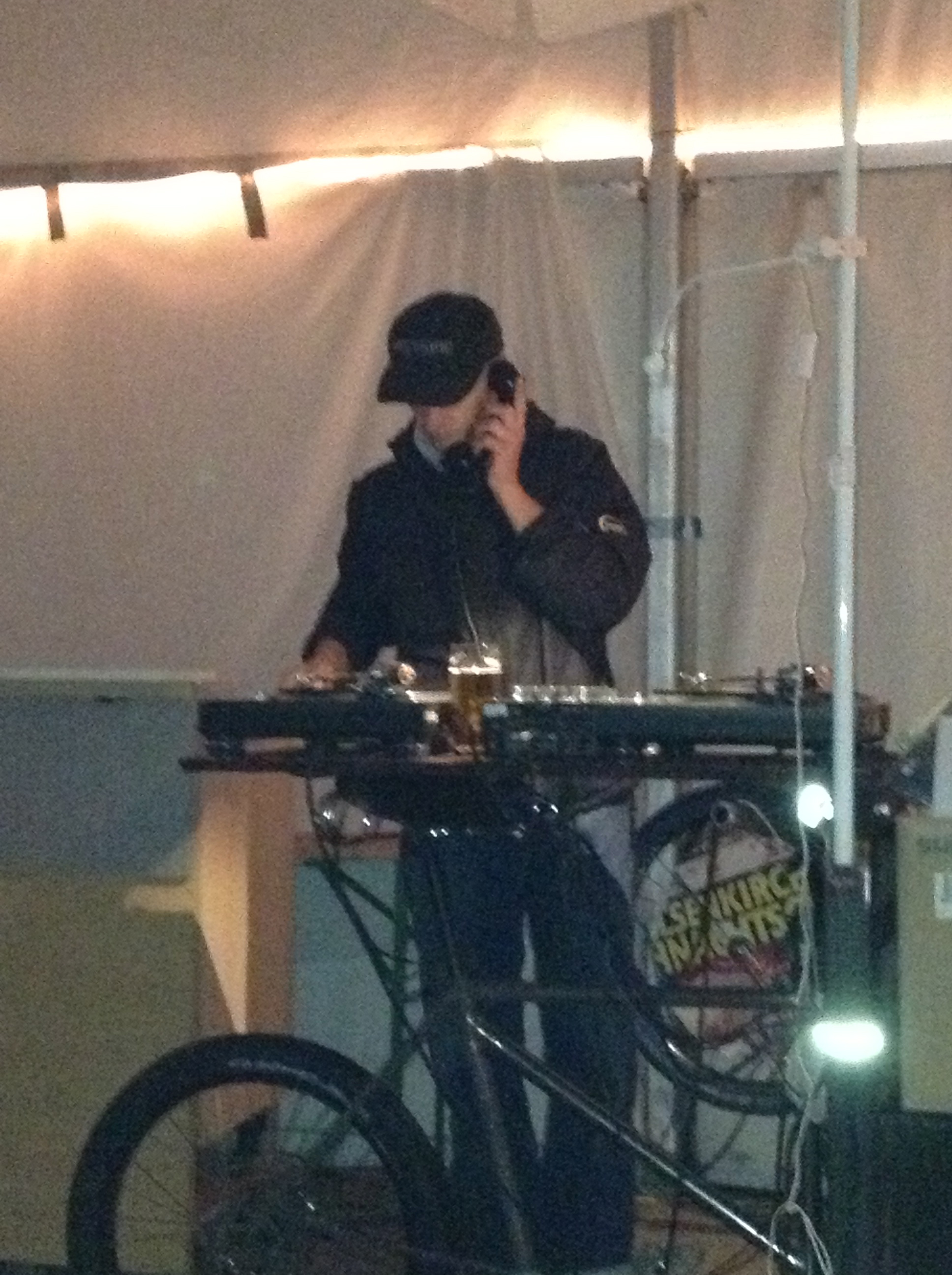 including the BEST DJ OF ALL TIME. Srsly this DJ was amazing. Just check out his bike-DJ set-up, and his telephone instead of headphones. Baller 9000.