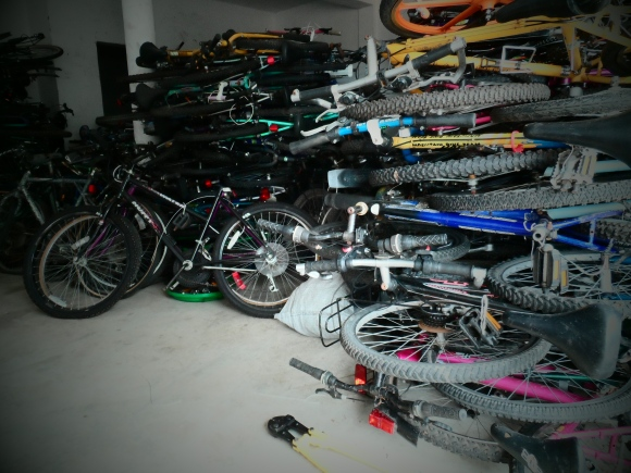 Inside the VBP Warehouse - bikes prepped for programs.